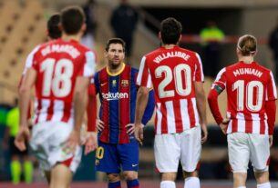 Messi frustrado tras no poder hacer nada